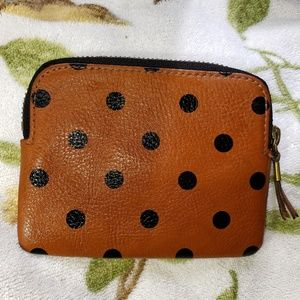Madewell leather polka dot pouch coin purse